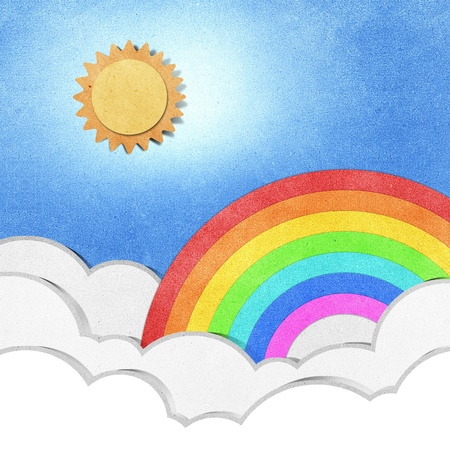 recycled paper: rainbow recycled paper craft background