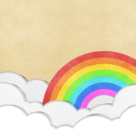 red sheet: rainbow recycled paper craft background