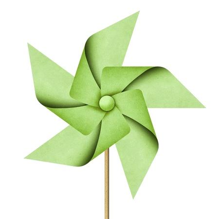 pinwheel: windmill recycled papercraft on white background