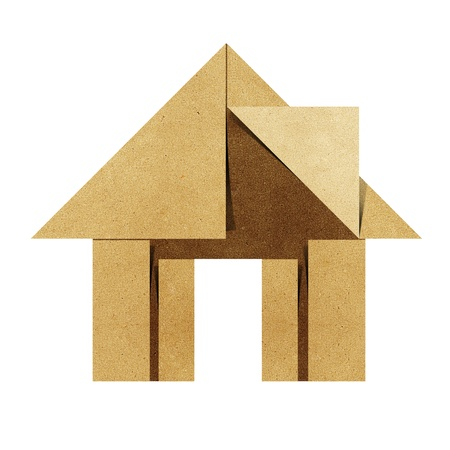 and craft materials: House origami recycled papercraft on white background