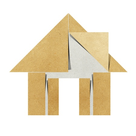 papercraft: House origami recycled papercraft on white background
