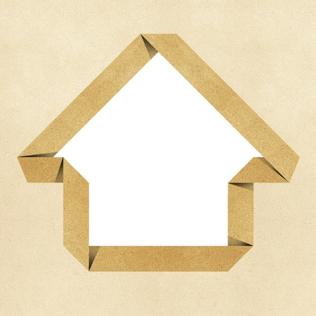 House origami recycled papercraft background Stock Photo - 10470054