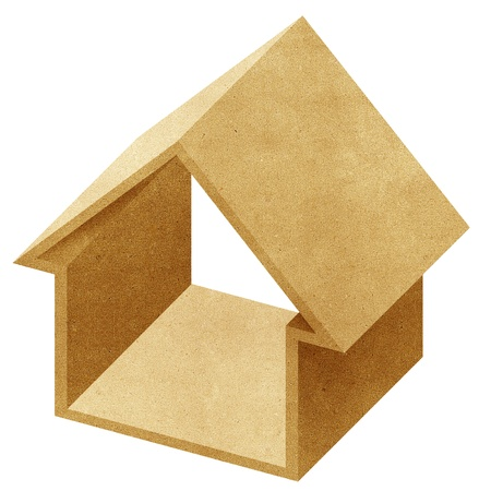 House 3D icon recycled papercraft on white background photo