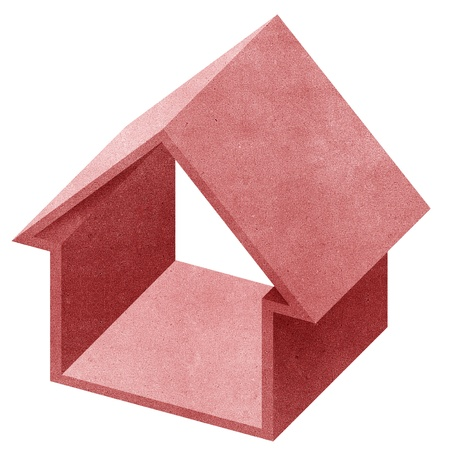 House 3D recycled papercraft on white background photo