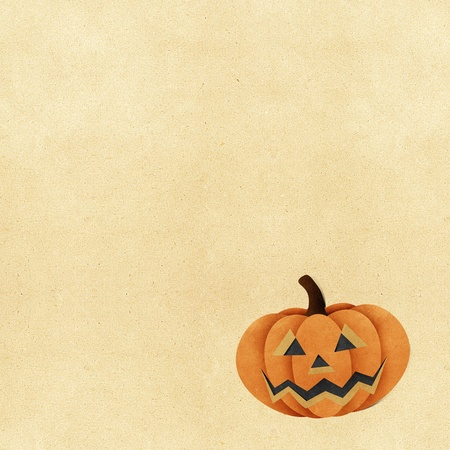 Halloween pumpkin recycled papercraft background photo