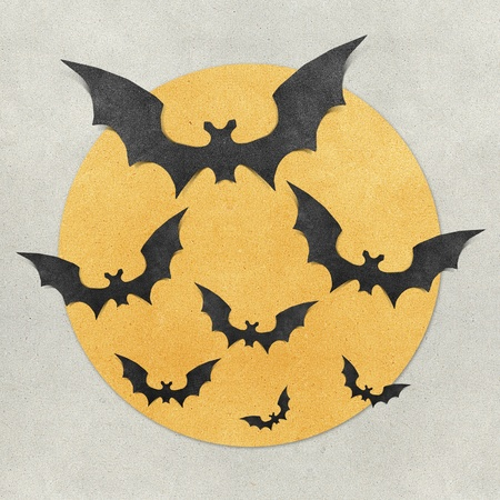 halloween message: Halloween bat and full moon recycled papercraft background