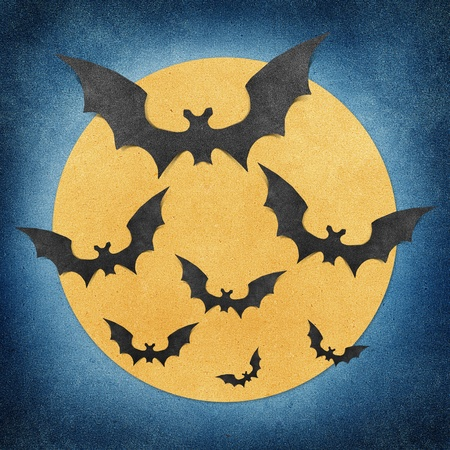 Halloween bat and full moon recycled papercraft background Stock Photo - 10514742