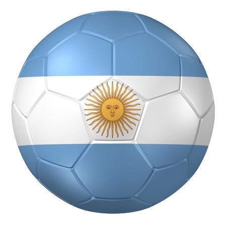 bandera argentina: Representación 3D de un balón de fútbol. Foto de archivo