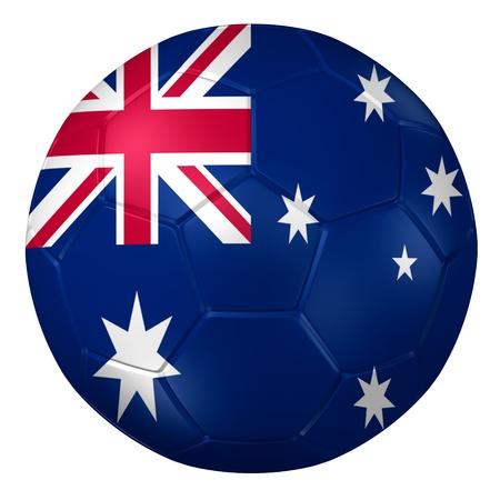 australia flag: 3d rendering of a soccer ball.