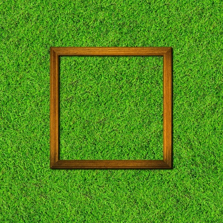 wood frame on green grass field background photo