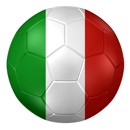 italy flag: 3d rendering of a soccer ball.