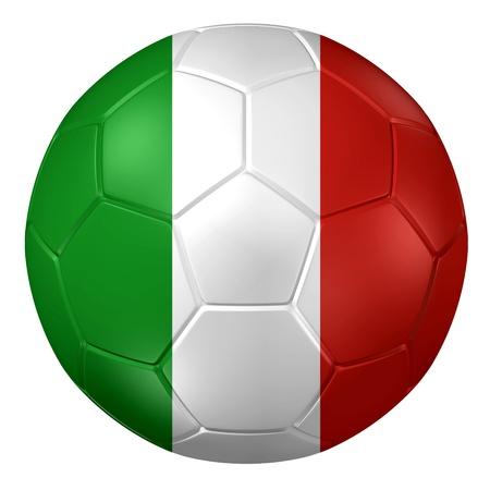 bandera italia: Representaci�n 3D de un bal�n de f�tbol. Foto de archivo