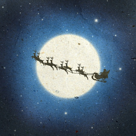 sprightly: Santa Claus On Sledge  on old paper background