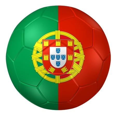 bandera de portugal: Representación 3D de un balón de fútbol. Foto de archivo