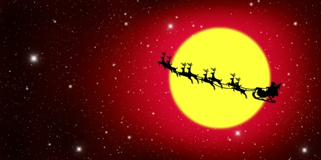 sprightly: Santa Claus On Sledge With Deer And yellow Moon