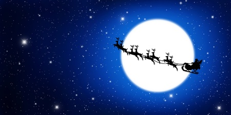 Santa Claus On Sledge With Deer And yellow Moon