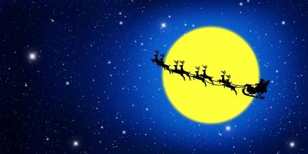 papa noel en trineo: Luna Papa Noel en trineo con ciervos y amarillo