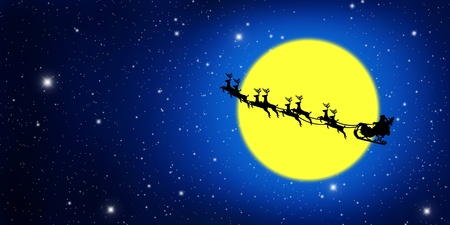 sledge: Santa Claus On Sledge With Deer And yellow Moon