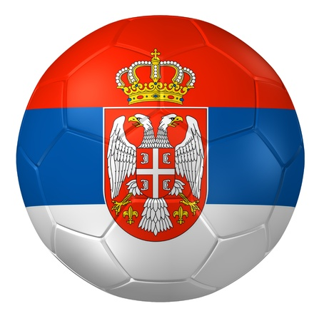 serbia flag: 3d rendering of a soccer ball.