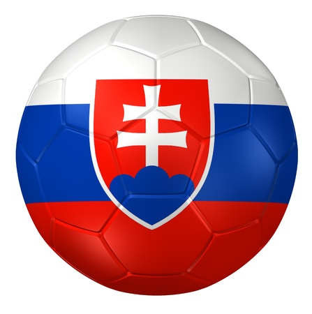 slovakia flag: 3d rendering of a soccer ball.