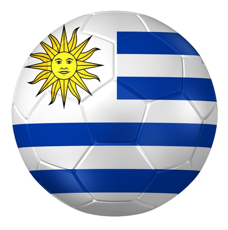 bandera de uruguay: Representaci�n 3D de un bal�n de f�tbol. Foto de archivo
