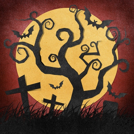 hallows: Halloween night recycled papercraft background