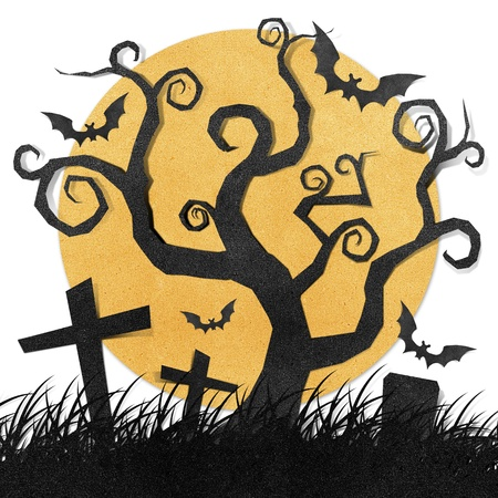Halloween night recycled papercraft background photo