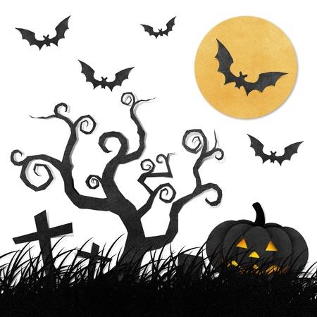 fruit bat: Halloween night recycled papercraft background