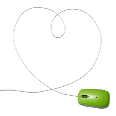 computer mouse with heart shaped wire photo