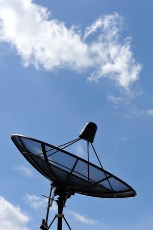 super highway: satellite disc against blue sky