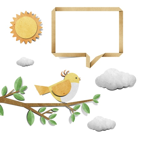 craft materials: bird recycled papercraft background Stock Photo