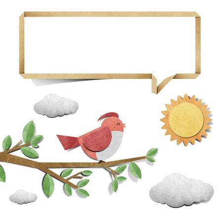 bird recycled papercraft background photo