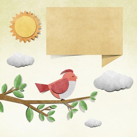 bubble sheet: bird recycled papercraft background Stock Photo
