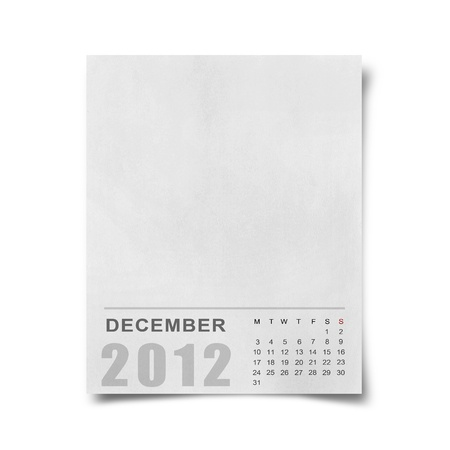 Calendar 2012 on blank Note Paper Background photo