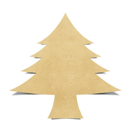 winter tree silhouette: Christmas tree recycled papercraft background Stock Photo