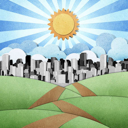 road to the city recycled papercraft background photo