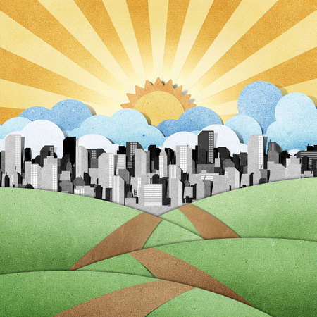 road to the city recycled papercraft background Stock Photo - 11646654