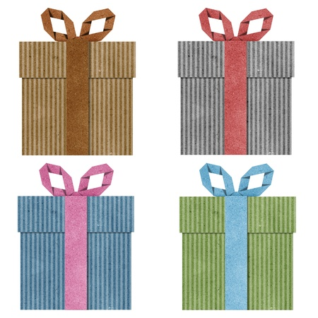 gift boxes with ribbon recycled  papercraft . photo