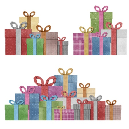 papercraft: gift boxes with ribbon recycled  papercraft .