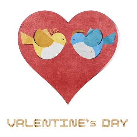 craft material: red heart and bird recycled papercraft  Stock Photo