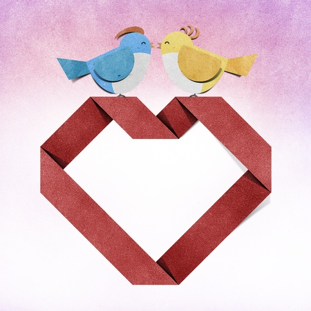red heart and bird recycled papercraft  photo