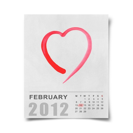 red watercolor heart on Calendar 2012 Note paper photo