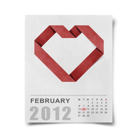 red heart recycled papercraft on calendar 2012 Stock Photo - 12061618