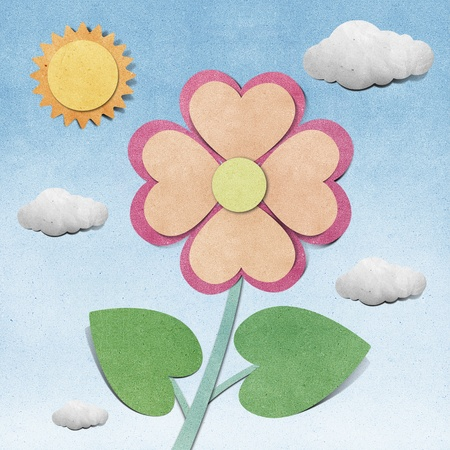 Flower and sky  recycled  papercraft  background photo