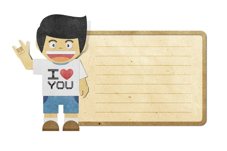 Paper boy with i love you alphabet on note recycled papercraft Stock Photo - 12061641