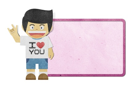 craft man:  Paper boy with i love you alphabet on note recycled papercraft