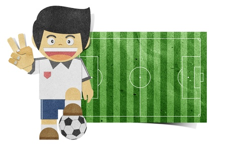 post teen: Paper boy  ( football field ) recycled papercraft  on white background Stock Photo