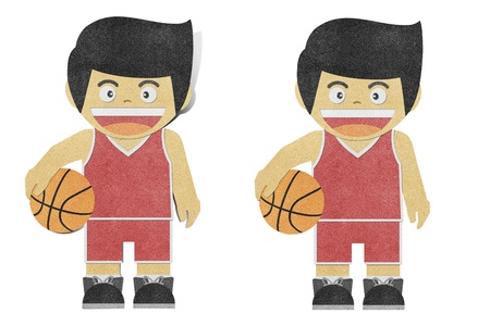 Paper boy  ( basketball player ) recycled papercraft  photo