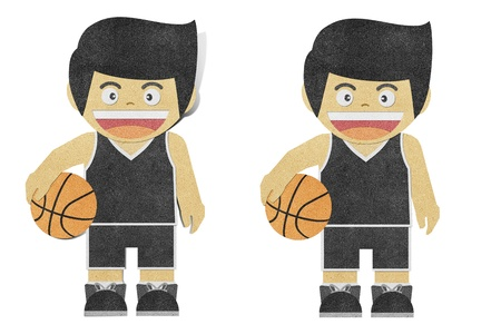 Paper boy  ( basketball player ) recycled papercraft Stock Photo - 12196519