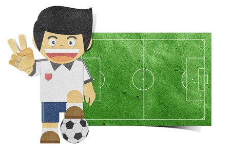 Paper boy  ( football field ) recycled papercraft  photo